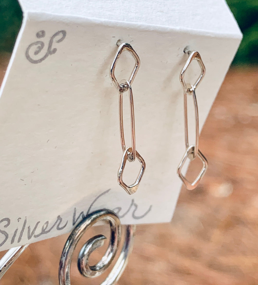 Sterling Silver diamond and oval post earrings