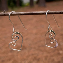 Load image into Gallery viewer, Sterling Silver swirly heart earrings