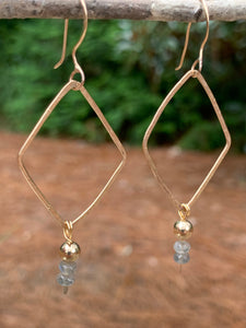 14K gold-filled Diamond earring with Labradorite and gold beads