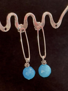 Sterling Silver Oval Earring with a Amazonite bead