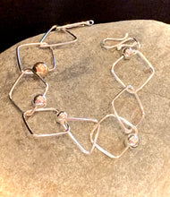 Load image into Gallery viewer, Sterling Silver Square bracelet with mixed beads