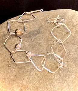 Sterling Silver Square bracelet with mixed beads