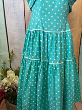 Load image into Gallery viewer, 1950s Aqua polka dot Dress size 6