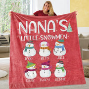 Personalized Snowmen Blanket with Names