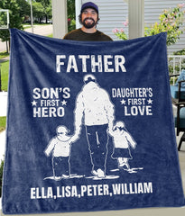 SON'S FIREST HERO DAUGHTER'S FIRST LOVE Custom Father's Day Fleece Blankets with Children Names 05