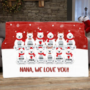 Personalized Christmas Polar Bear Blanket with Names