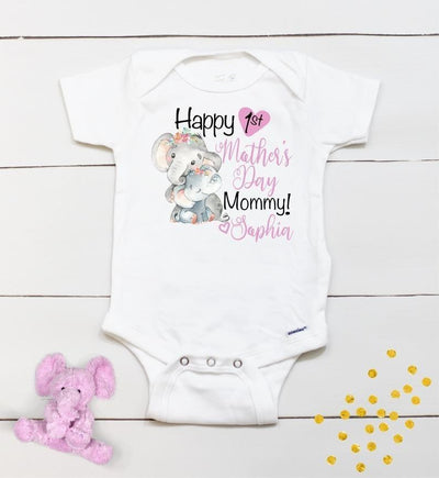 Personalized Mother's Day Baby Onesie02-Elephant