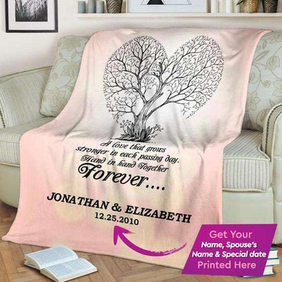 Personalized Couple's Anniversary Fleece Blanket-Tree/Pink