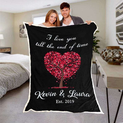 Personalized Couple's Anniversary Fleece Blanket-LoveTree