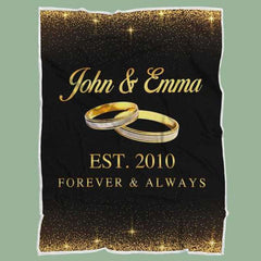 Personalized Couple's Anniversary Fleece Blanket-Rings