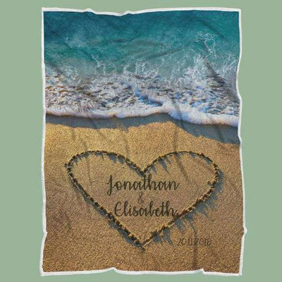 Personalized Couple's Anniversary Fleece Blanket-Sea&Beach