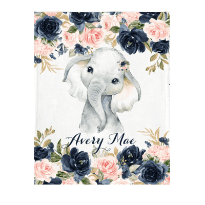 Personalized Name Fleece Blanket 01-Elephant