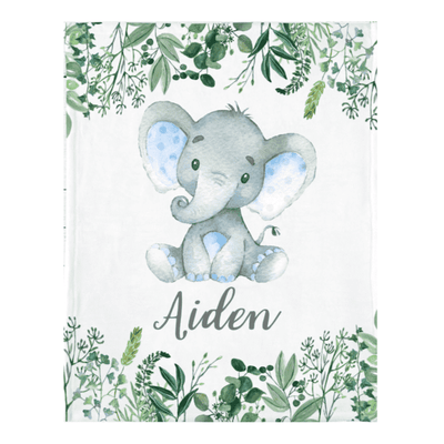Personalized Name Fleece Blanket 04-Elephant