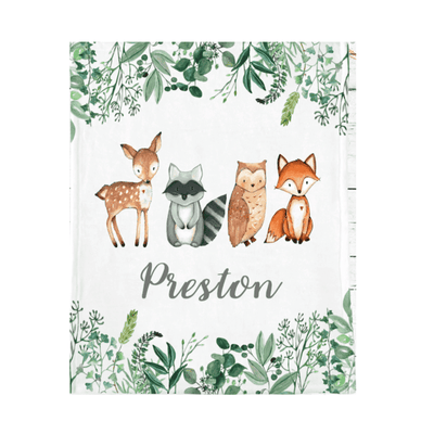 Personalized Name Fleece Blanket 06-Woodland