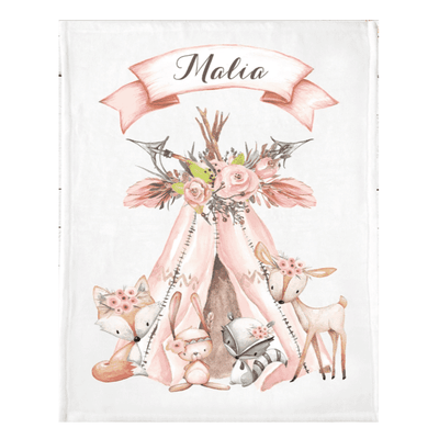 Personalized Name Fleece Blanket 07-Woodland2