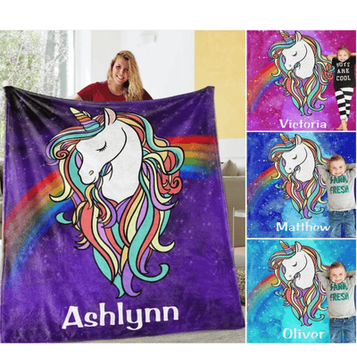 Personalized Magical Unicorn Fleece Blanket 02