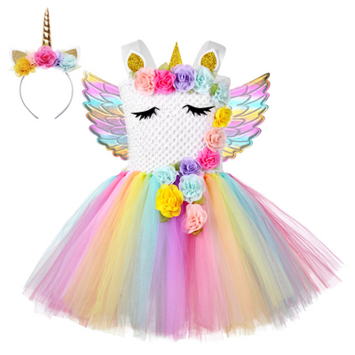 Christmas Girls Unicorn Dress with Long Tail 05