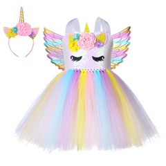 Christmas Girls Unicorn Dress with Long Tail 10