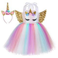 Christmas Girls Unicorn Dress with Long Tail 11