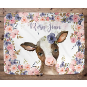 Personalized Name Fleece Blanket-Cow I04