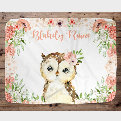 Personalized Name Fleece Blanket Flower Owl