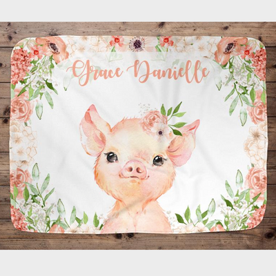 Piggy - Personalized Name Fleece Blanket 01