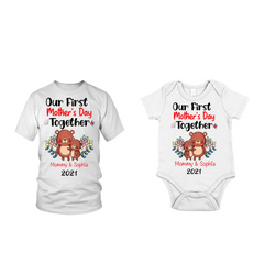 Personalized Baby Onesie & Mom T-shirts - Bears1