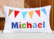 Custom Chenille Pillow with Name03 - Colorful Flags