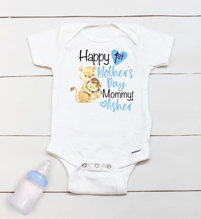 Personalized Mother's Day Baby Onesie04-Lion