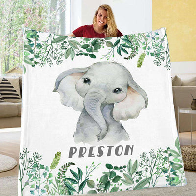 Personalized Name Fleece Blanket 12-Elephant