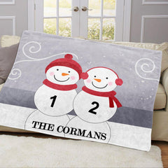 Personalized Snowman Family Blanket With Names 01