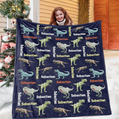 Custom Name Fleece Blanket Dinosaur II02