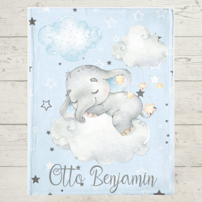 Personalized Name Fleece Blanket - Elephant16 Blue