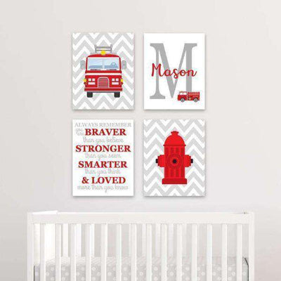Firefighter Nursery Decor Canvas Art 03 Set of 4 Prints