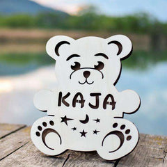 Personalized Wooden LED night lamp 04-Bear