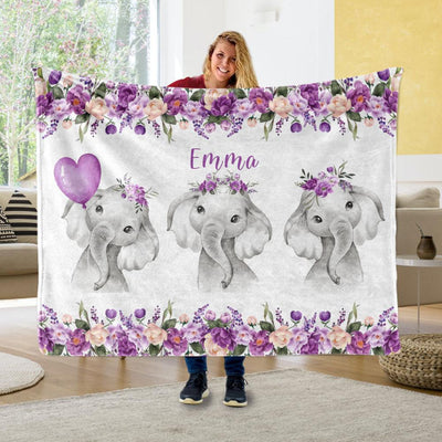 Personalized Name Fleece Blanket 19-Elephant