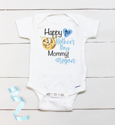 Personalized Mother's Day Baby Onesie08-Sloth