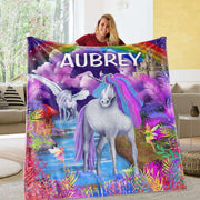 Personalized Magical Unicorn Fleece Blanket 06