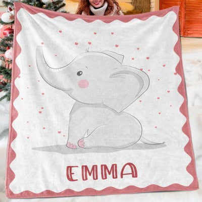 Custom Elephant Name Blanket I02