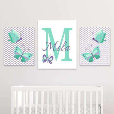 Butterfly Nursery Canvas Art 02 Set of 3 Prints