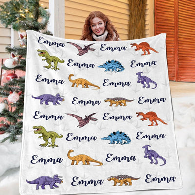 Custom Name Fleece Blanket Dinosaur II03