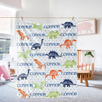 Personalized Name Fleece Blanket VIII 35-Dinosaur