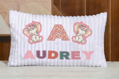 Custom Chenille Animal Pillow I10 - Elephant with Letter