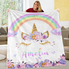 Personalized Magical Unicorn Fleece Blanket 08