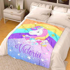 Personalized Magical Unicorn Fleece Blanket 11