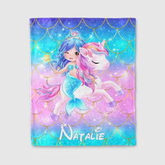 Personalized Magical Unicorn Fleece Blanket 09