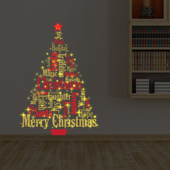 Yellow/Red Magic Glow Christmas Tree English Quotes Wall Decal