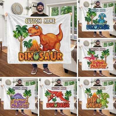 Custom Name Fleece Blanket Dinosaur II01