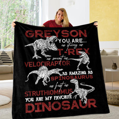 Custom Name Fleece Blanket Dinosaur II05