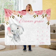 Personalized Name Fleece Blanket 18-Elephant